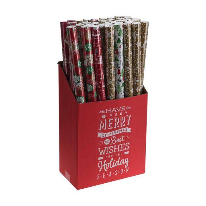Papier cadeau 8M décor Noël 6 assortiments
