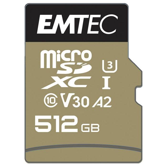 Carte Micro SD EMTEC 512 Go UHS-I U3 V3