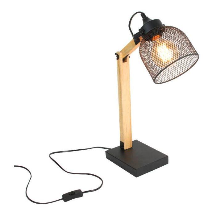 Lampe de bureau métal noir et bois