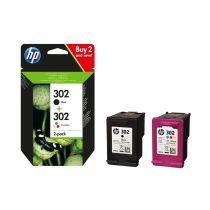 HP 302 pack une cartouche d'encre Trois couleurs (Cyan, Magenta, Jaune) et une cartouche d'encre Noir authentiques (X4D37AE)