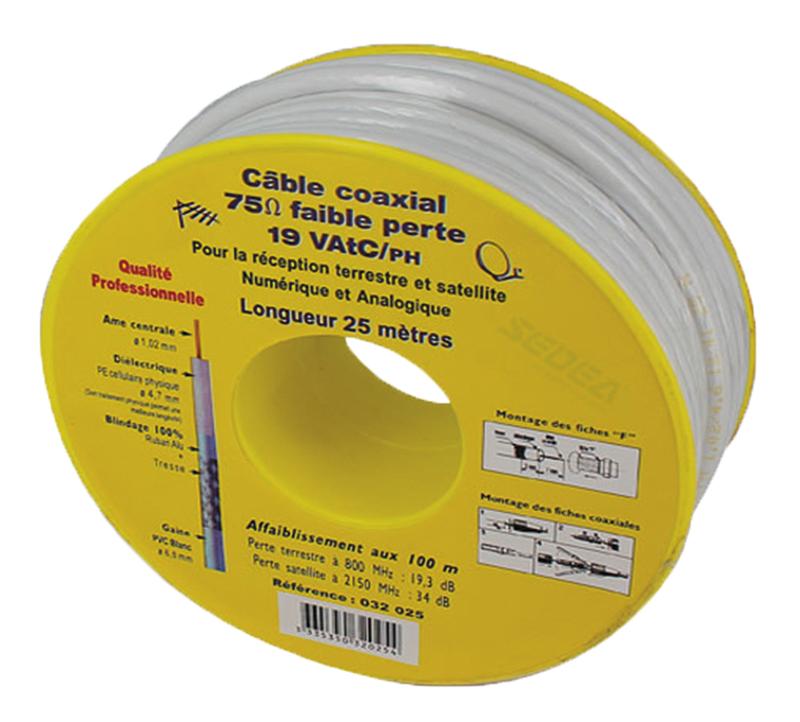 Bobine 25m cable coaxial 19vatc/ph