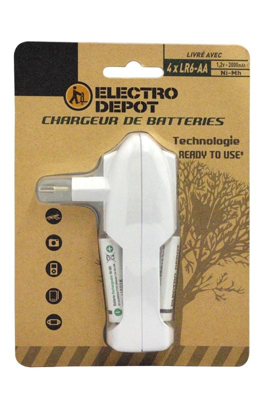 Chargeur de piles ELECTRODEPOT + 4 piles LR06