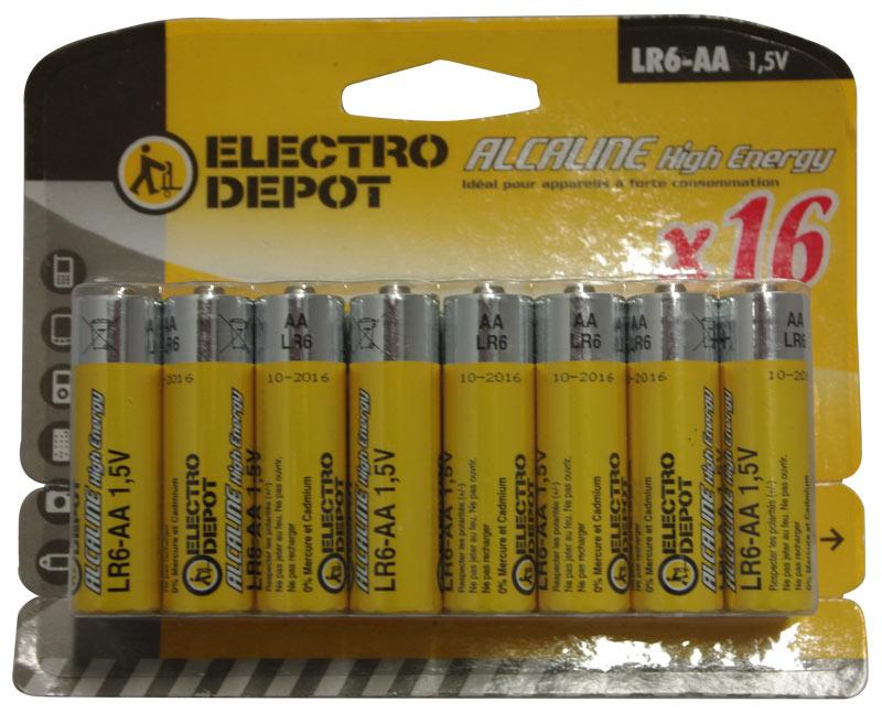 Lot de 16 piles LR06 AA ELECTRODEPOT