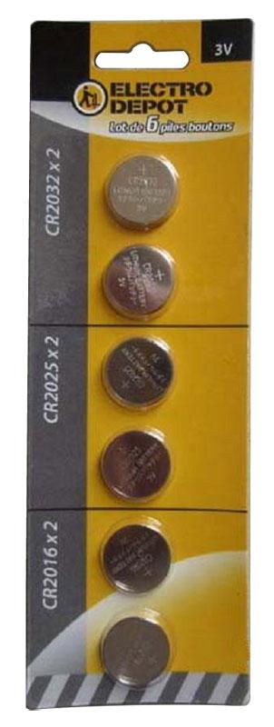 6 piles boutons ELECTRODEPOT