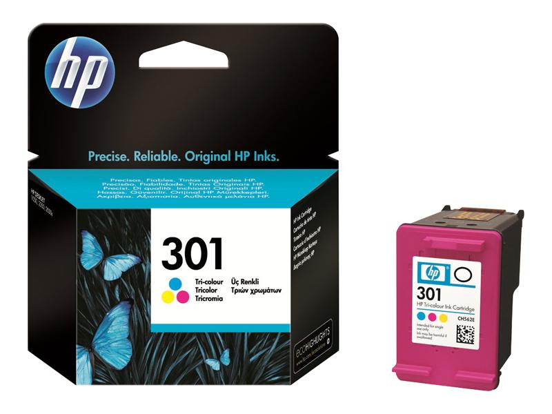 HP 301 Cartouche d'encre Trois couleurs (Cyan, Magenta, Jaune) authentique (CH562EE) (photo)