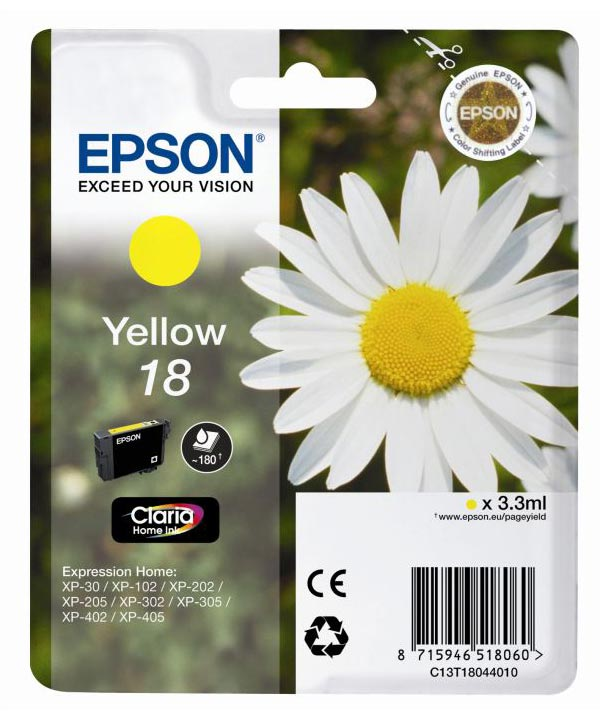 Cartouche EPSON T1804 Paquerette Jaune (photo)