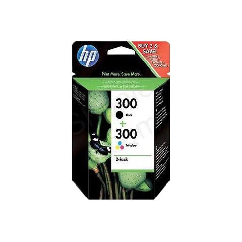 HP 300 Lot de 2 cartouches d'encre Noir et Trois couleurs (Cyan, Magenta, Jaune) authentiques (CN637EE)