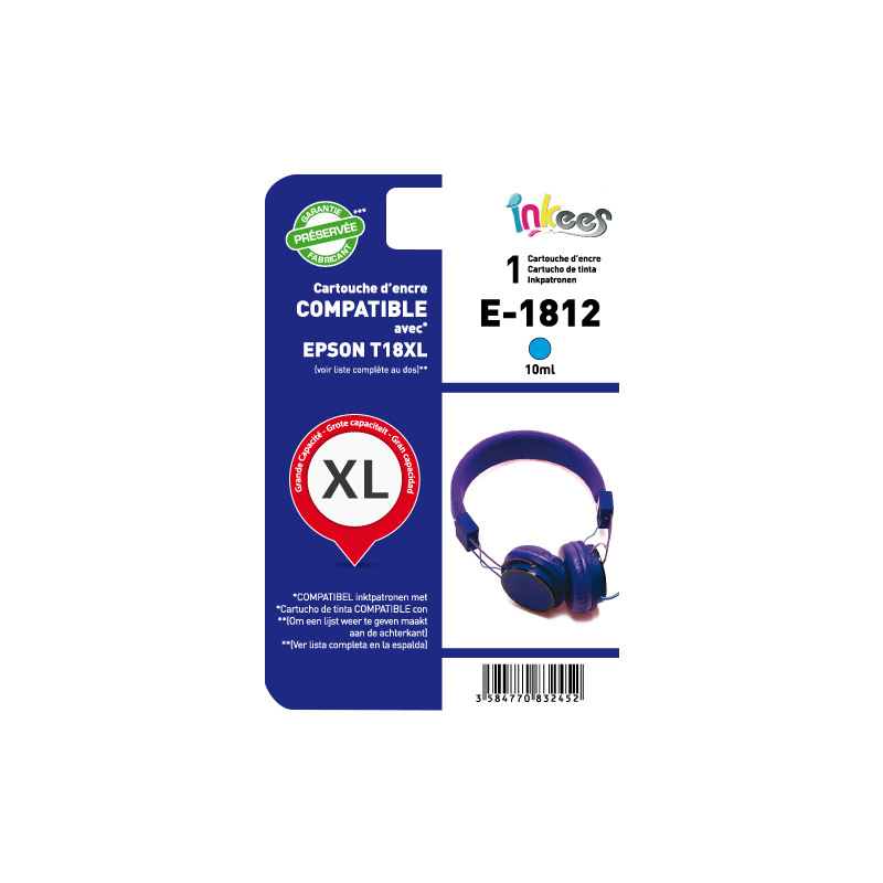 Cartouche INKEES E1812XL cyan compatible EPSON (photo)
