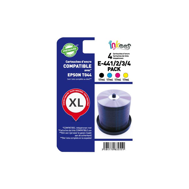 MultiPack INKEES E64B/C/M/Y Noir + couleurs compatible EPSON