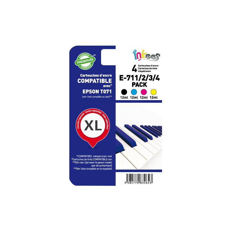 MultiPack INKEES E711/2/3/4 Noir + couleurs compatible EPSON (photo)