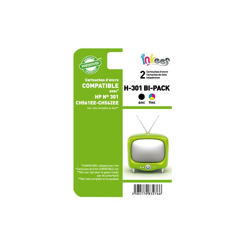 Cartouche Inkees bipack h301 noir/couleurs compatible hp