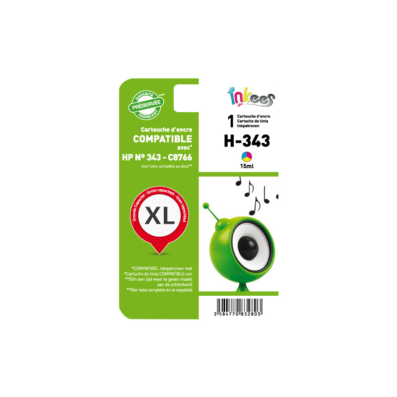Cartouche INKEES H343 couleurs compatible HP