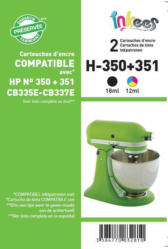 Cartouche Inkees bipack h350/351 compatible hp