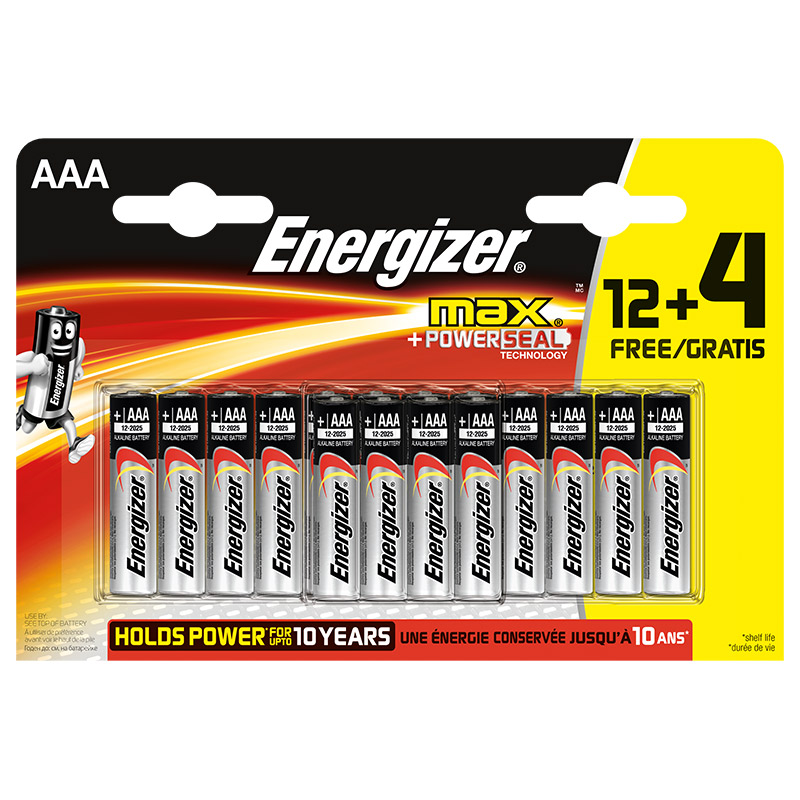 Piles ENERGIER MAX AAA LR03 12 + 4 gratuites