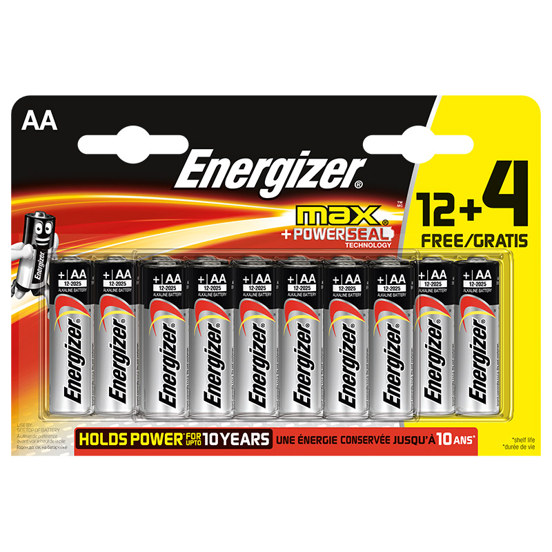 Piles ENERGIZER MAX AA LR06 12 + 4 gratuites