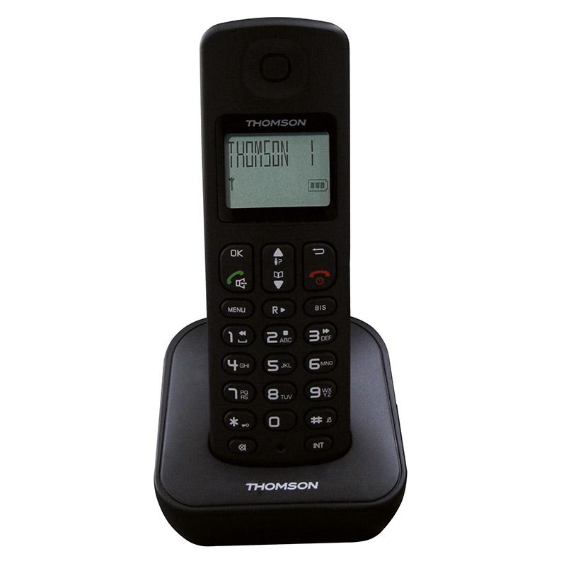 Téléphone Solo Répondeur Thomson Mica Noir Mains Libres