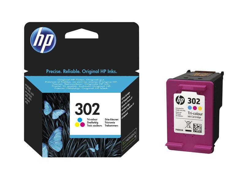 HP 302 Cartouche d'encre Trois couleurs (Cyan, Magenta, Jaune) authentique (F6U65AE) (photo)