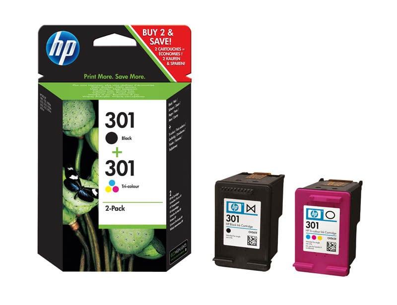 HP 301 pack de 2 cartouches d'encre noire/trois couleurs authentiques (N9J72AE) (photo)