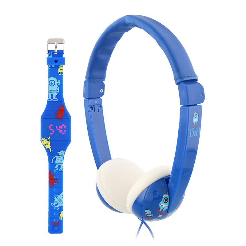 Casque Enfant T'nb Bunkidbl Bleu + Montre