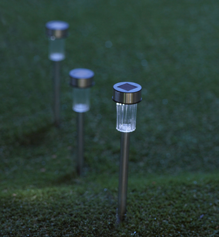 Lampe solaire 33cm Inox