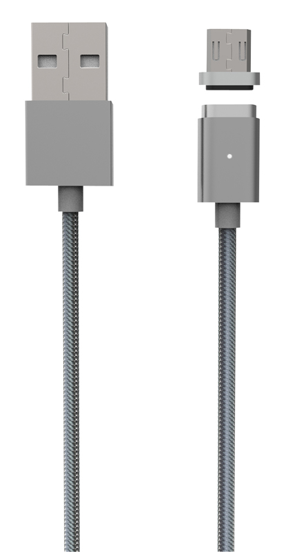 Câble synchro/charge magnetique ON EARZ 1,2m 2,4A micro-USB gris