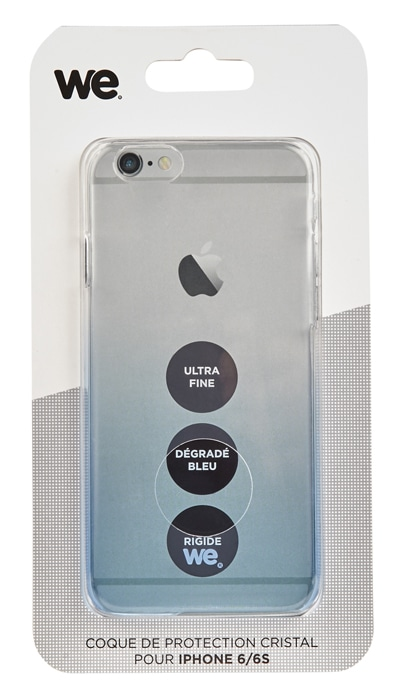 Coque Protection WE iP6/6S rigide transparente bleutee