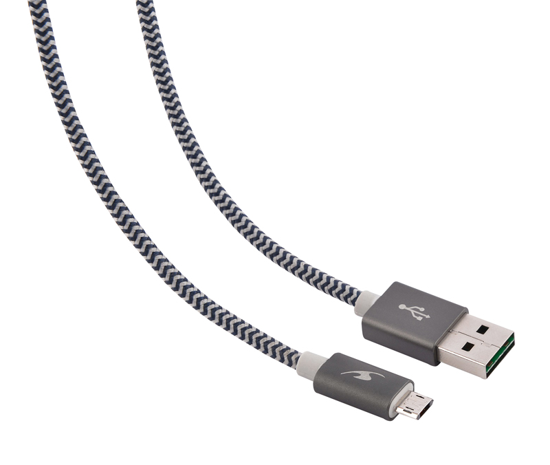 Câble micro USB reversible BLUESTORK 1,2m 2,4A gris (photo)