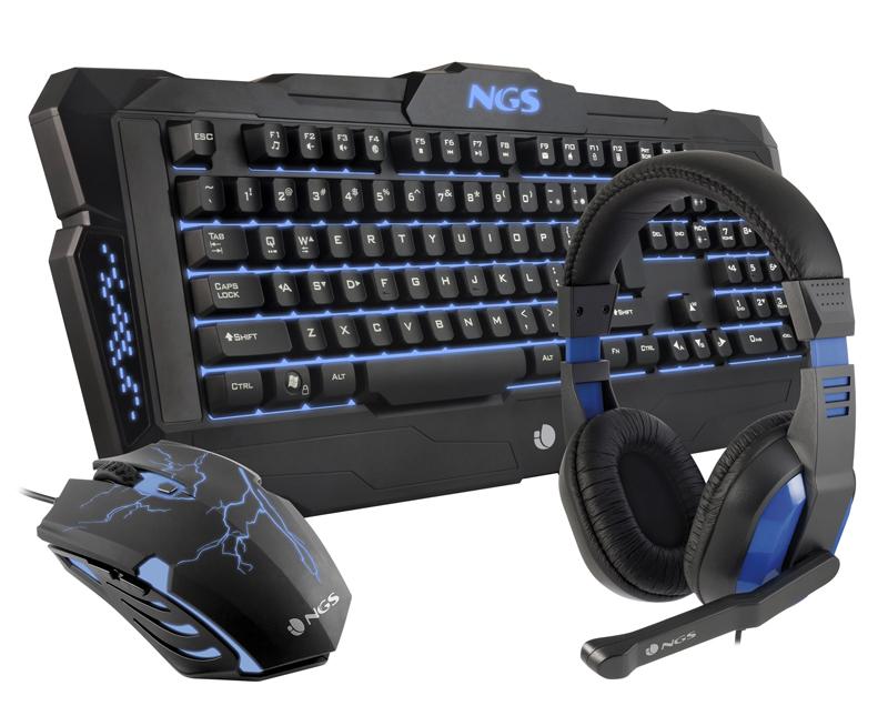 Pack gaming clavier + souris + casque NGS GBX 1000 noir et bleu (photo)