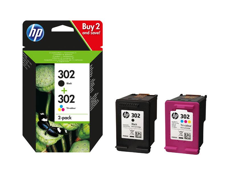 HP 302 pack une cartouche d'encre Trois couleurs (Cyan, Magenta, Jaune) et une cartouche d'encre Noir authentiques (X4D37AE) (photo)