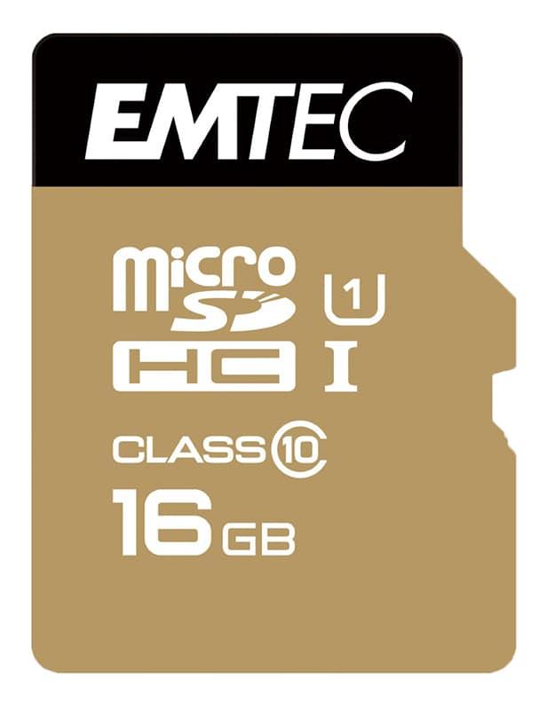 Carte micro SD 16 go EMTEC Class 10 + adaptateur