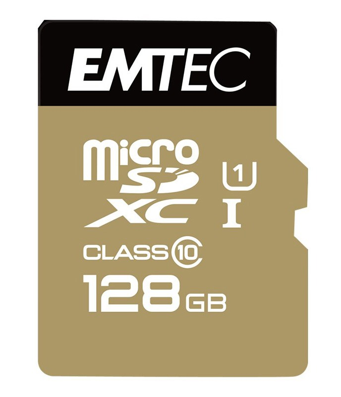 Carte Micro SD EMTEC 128 Go class 10 + adaptateur (photo)