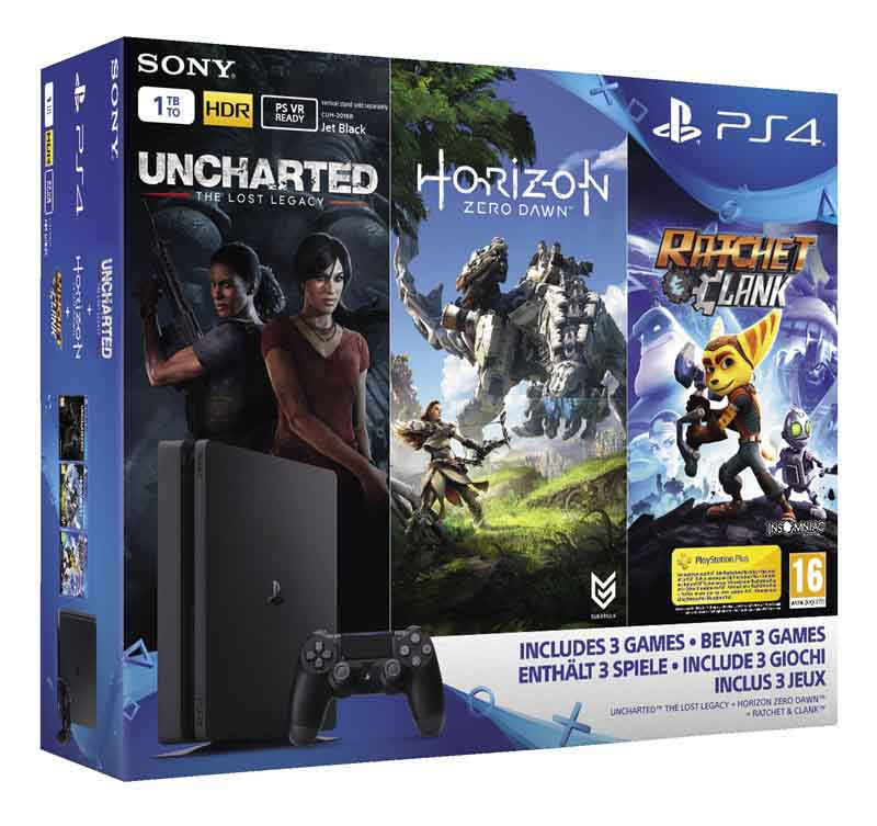 Console Jeux PS4 SLIM 1TO + HORIZON + UNCHARTED THE LOST LEGACY + RATCHET AND CLANK
