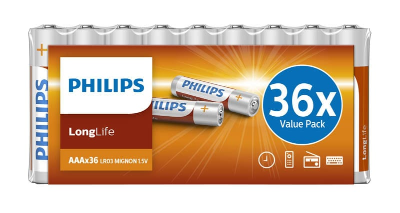 Piles PHILIPS Longlife AAA - LR03 x36 (photo)