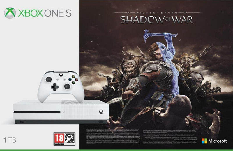 Console Jeux xbox one s 1 to + shadow of war