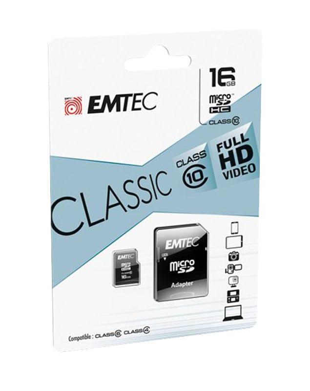 Carte Micro Sd Emtec 16 Go Class 10 + Adapateur