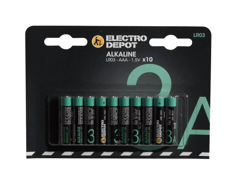 Piles ELECTRO DÉPÔT Alkaline AAA - LR03 x10 (photo)