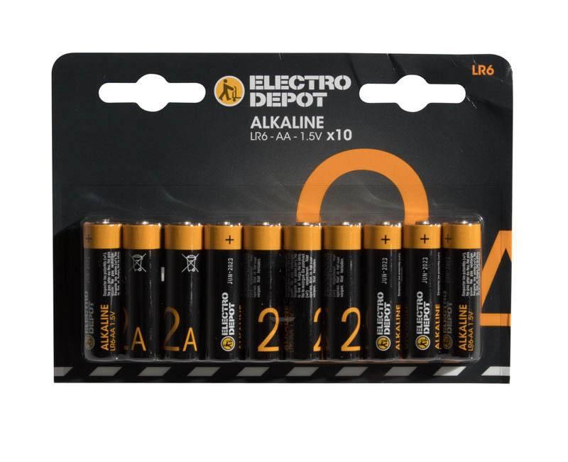 Pile ELECTRO DÉPÔT Alkaline AA- LR6 x 10 (photo)