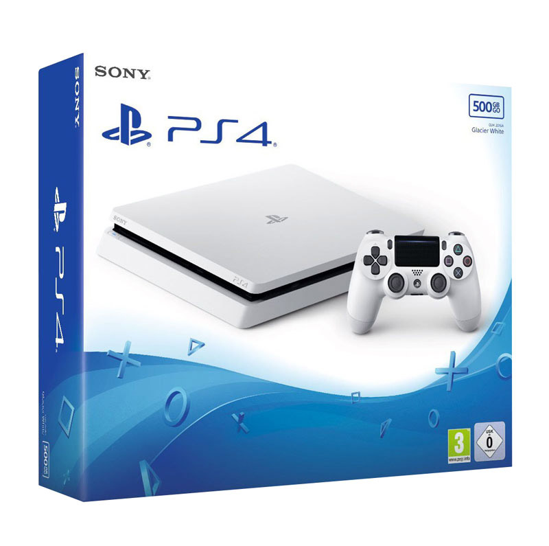console de jeux ps4 slim 500 go blanche photo. Black Bedroom Furniture Sets. Home Design Ideas