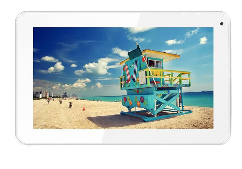 Pack depart en vacances tablette 9 TAKARA blanche + Housse waterproof + Support appui-tête (photo)