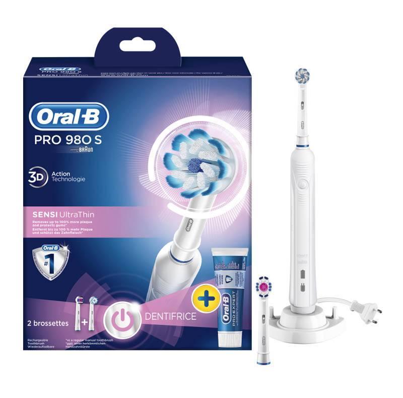 Brosse à dents ORAL-B PRO 980 S avec 2 brossettes + dentifrice (photo)