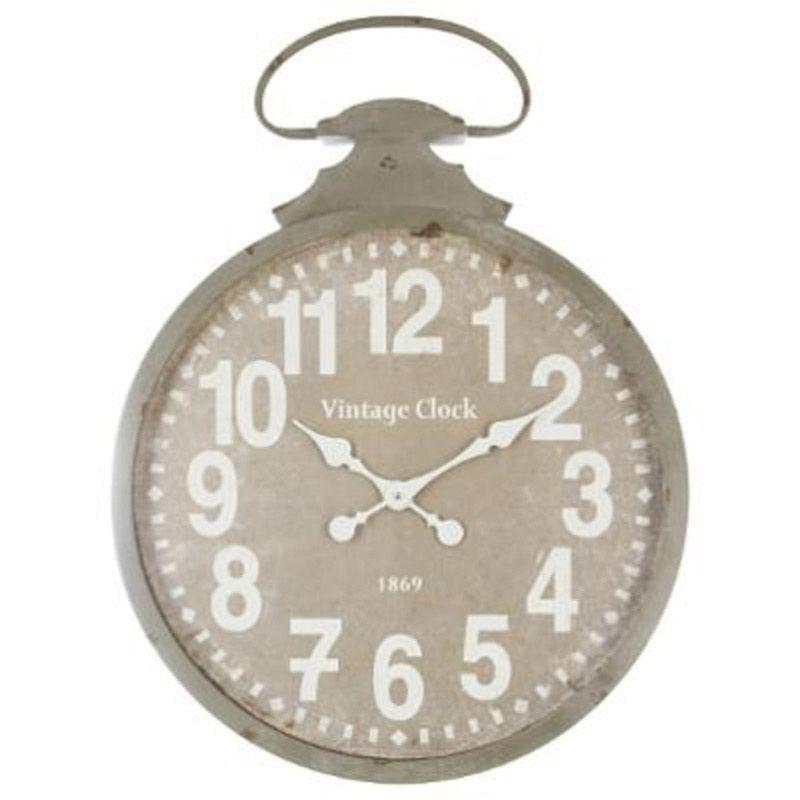 Horloge metal gousset diamètre 50cm gris (photo)