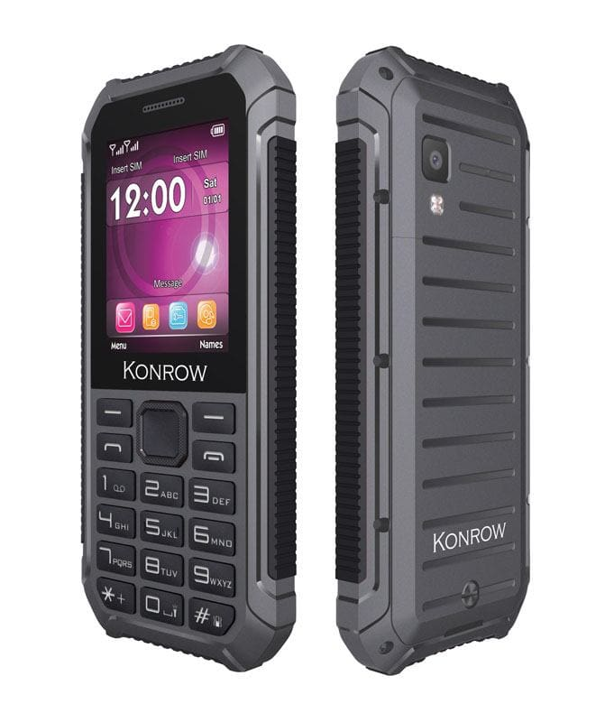 Mobile resistant eau et poussière KONROW Stone lite 2,4 noir (photo)