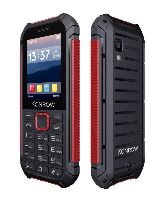 Mobile resistant eau et poussière KONROW Stone lite 2,4 noir et rouge (photo)