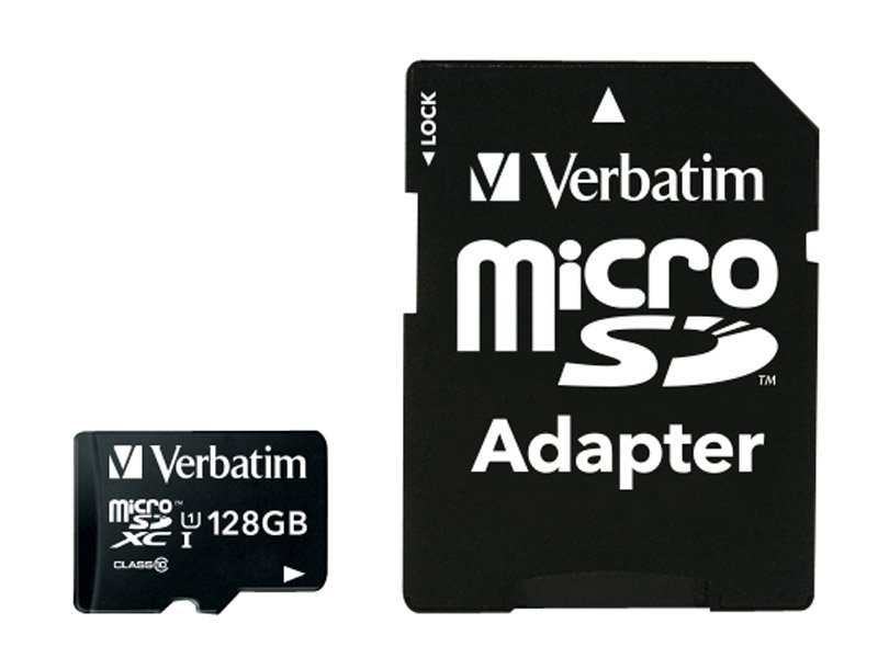 Carte Micro-SD VERBATIM 128 Go C10/70 + adaptateur (photo)