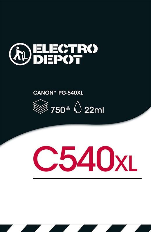 Cartouche d'encre compatible CANON ELECTRO DÉPÔT C540 XL noir (photo)