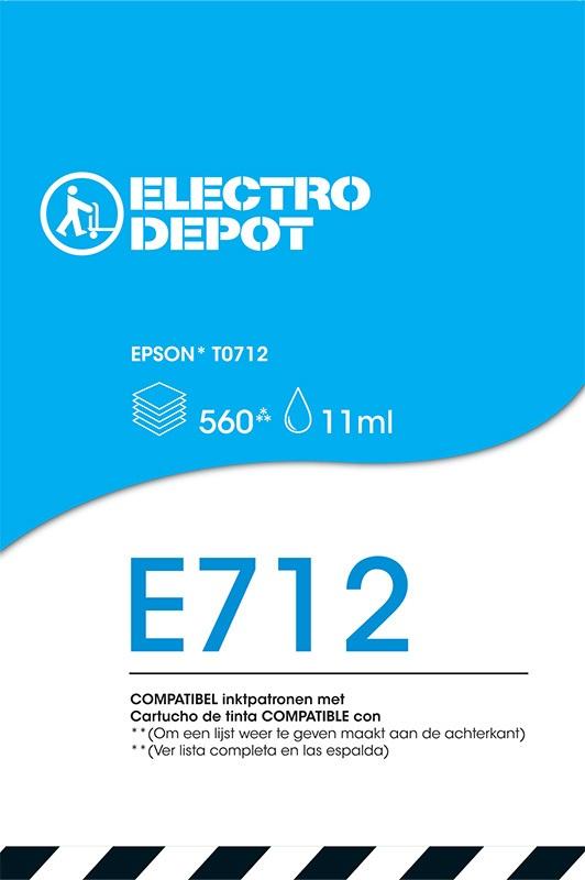 Cartouche compatible EPSON T0712 ELECTRO DÉPÔT E712 cyan (photo)