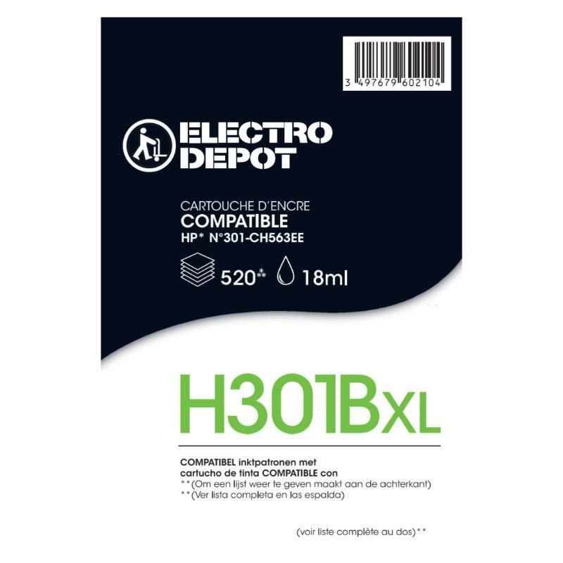 Cartouche compatible HP 301 XL noire ELECTRO DÉPÔT H301 XL noire (photo)