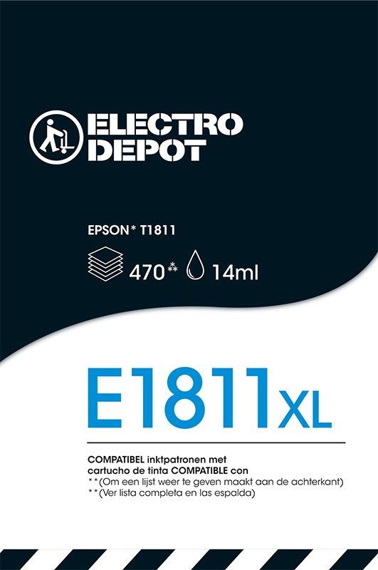 Cartouche compatible EPSON 18 noire ELECTRO DÉPÔT E1811 noire (photo)