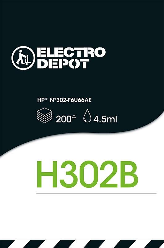 Cartouche d'encre compatible HP ELECTRO DÉPÔT 302 B noir (photo)