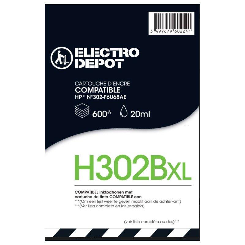 Cartouche d'encre compatible HP ELECTRO DÉPÔT 302 XL noir (photo)